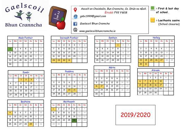 Féilire na Bliana / School Calendar